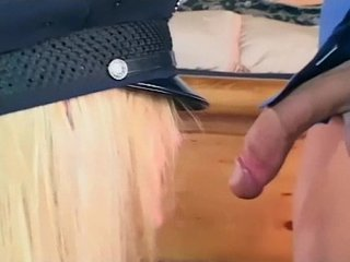 Pretty female cop fucking in gloves and stockings