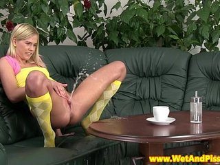 Adorable pissing teen blonde masturbating