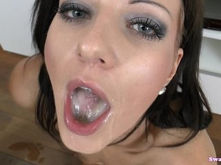Nathaly Cherie Looks Into Your Eyes As She Swallows